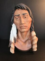 A Rare Porcelain Indian Lenape Bust, Limited Edition Of 10, By Bronne, Number 3