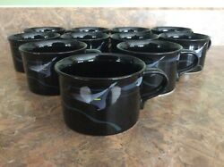 22 Piece Mikasa Galleria Opus Black Fk701 This Means Cups And Saucers For 11