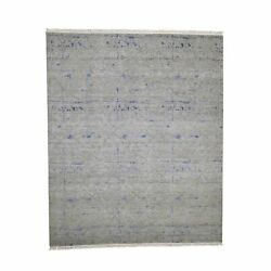 8and039x9and0398 Hand-knotted Silk With Textured Wool Modern Oriental Rug R40850
