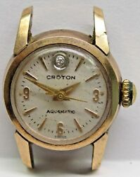 Antique Lds Croton Aquamatic Pink Gold Filled Wrist Watch 2nd Hand 1diamond Dial