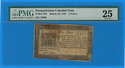 March 16 1785 Pennsylvania 3 Three Pence Us Colonial Currency Note Pa-265 Pmg 25