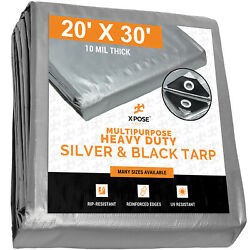 20' X 30' Heavy Duty Silver/black Poly Tarp Water Proof 10 Mil Cover Tent Tarp