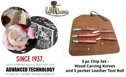 5pc Chip Set Wood Carving Whittling Knives And 5 Pocket Leather Tool Roll