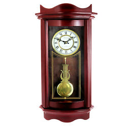 NEW BEDFORD GRANDFATHER WEATHERED CHERRY WOOD 25quot; WALL PENDULUM CLOCK 4 CHIMES