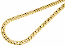10k Yellow Gold Semi Hollow 7.5 Mm Miami Cuban Link Necklace Chain 24 - 40 Inch