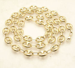 10mm Puffed Mariner Anchor Link Chain Necklace Real 10k Yellow Gold