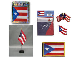 Puerto Rico Heritage Flag Set 3x5 Flag Decal Lapel Pins Desk Flag And Patch
