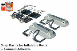 Snap Davits For Inflatable Dinghy And Swim Platform With Quick Release Kit + Glue