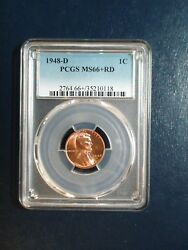 1948 D Lincoln Wheat Cent Pcgs Ms66 Plus Red Gem 1c Coin Priced To Sell Now