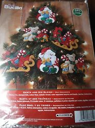 BUCILLA FELT JEWELED SANTA AND HIS SLEIGH ORNAMENTS KIT SET OF 6  4 34