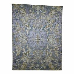 8'10x11'7 Abstract Design Wool And Silk Hand-knotted Oriental Rug R41057