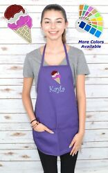 Personalized Kids Apron with Ice Cream Embroidery Design $20.98