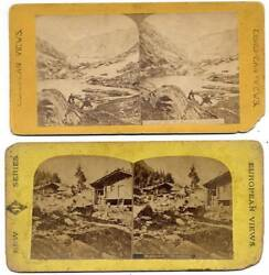 Lot Two Stereo Cards Switzerland Swiss Mountain Stereoviews 1870c S431