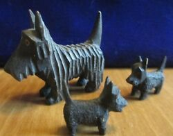 3 Miniature Wooden Carved Scottish Terrier Scotty Dog Figurines
