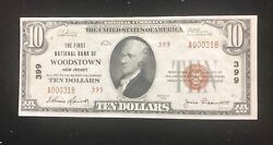 Woodstown New Jersey First National Bank Of 1929 Type 2 Au/ Unc