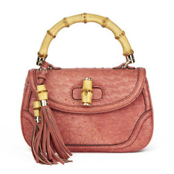GUCCI CORAL OSTRICH LEATHER BAMBOO CLASSIC TOP HANDLE HB1900
