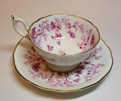 Vintage Coalport Bone China England Pink Cairo Set Footed Cup And Saucer 9252