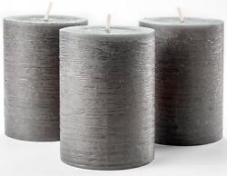 Set Of 3 Charcoal Pillar Candles Dark Grey 3 X 4 Rustic Unscented Dripless ...