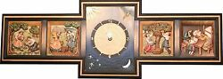 Pendule Relief 4 Saisons Horizontal - Wall Clock Wood Carved Relief