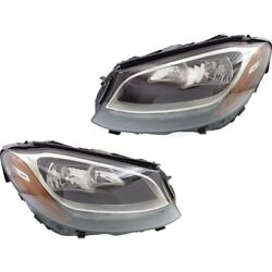 Headlight For 2015 Mercedes-benz C400 Pair Driver And Passenger Side
