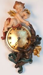Pendule Avec Anges Multiethnique - Wall Clock Wood Carved With Angels
