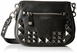 Marc Jacobs Recruit Chipped Studs Saddle Bag Black New