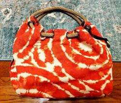 Genuine MICHAEL KORS Rope Canvas SHOULDER BAG ORANGE TIE-DYE Design 17x12x6 in.