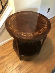 An Antique Round / Side End Mahogany Table With Inlay Work Circa 1900