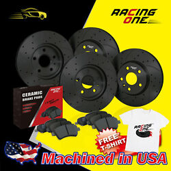 Racing One Front+Rear Black Drilled Slotted Brake Rotor & Pads For Mazda Protege