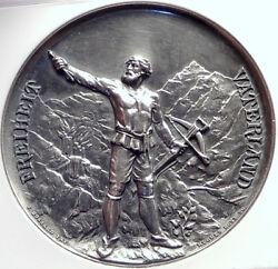 1889 Switzerland Lucerne Shooting Festival Silver Medal William Tell Ngc I70025