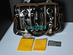 FENDI $1850 AUTHENTIC NEW B BUCKLE PATENT LEATHER BAG WITH CONTRAST STITCHING