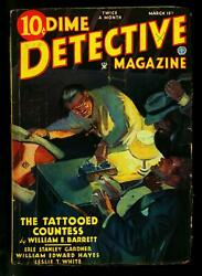 Dime Detective Pulp 3/15/35- Tattooed Countess- Erle Stanley Gardner- Vg