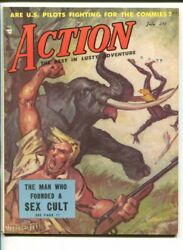 Action -july 1953-picture Mags-elephant Attack-war-horse Racing-vf