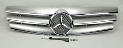 3 Fin Front Silver & Chrome Hood Sport Grill for Mercedes SL Class R129 W129
