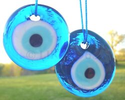 Evil Eye 1 1 4quot; Qty 2 Blue Glass Protection Amulet Luck Wall Hanging Decorations