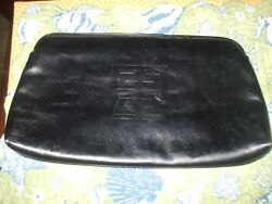 Authentic Givenchy Sac black soft leather clutch evening bag travel makeup