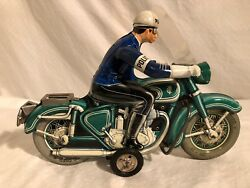 Tippco Tin Friction Tco-598 Police Motorcycle 1950s Germany Large Toy