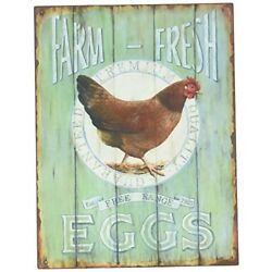 Hen Chicken Farm Vintage Sign Kitchen Country Deco Distressed Home Wall Plaque