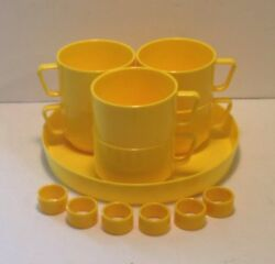 6 Vintage Yellow Melamine Stackable Latte Mugs/soup Cups W/tray Made In Italy