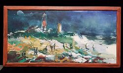 Surf Casting On The Beach Oil On Particle Board Framed And Unsigned