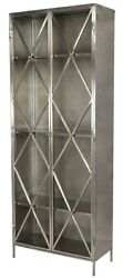84 Tall Guglielmo Cabinet Silver Metal Embellished Double Doors Glass Panels