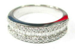 Fine .65ct 3 Row Baguette And Round Cut Diamond Band/ring G Vs-2 Size 6.5 18k Wg