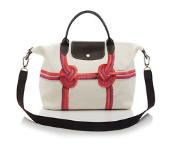 Auth. Longchamp MD Surf City Koralle in beige (MADE IN FRANCE) Coral Canvas Bag