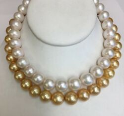 Gold And Whitefreshwater Pearls. 12x16mm. 17andrdquo Silver Clasp