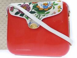 Authentic GUCCI Flower Design Shoulder Bag Red and White color 0201