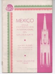 1940 Booklet In Spanish Mexico At The Ggie World's Fair Sf Ca
