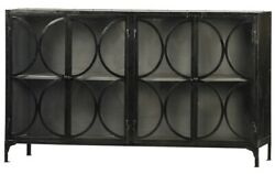 75 Augusto Sideboard Metal Antique Black Finish Double Doors Circle Cutout