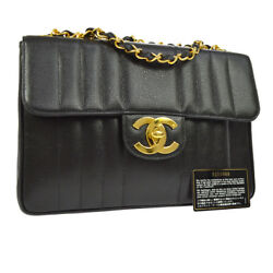 Auth CHANEL Quilted CC Double Chain Shoulder Bag Black Caviar Leather GHW V23104