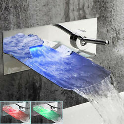 Luxury Led Wide Spout Waterfall Bathroom Wall Mount Faucet Mixer Tap Chrome
