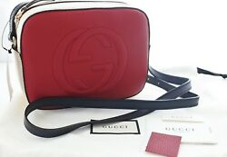 GUCCI Soho Disco Leather shoulder Crossbody Bag Hibiscus Red  Multicolor 431567